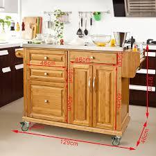 SoBuy Luxus Küchenwagen aus hochwertigem Bambus mit
