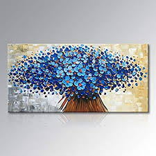blue floral canvas wall art