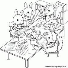 Line Drawings Calico Critters Coloring Pages Printable Coloring