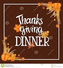Handlettering Thanksgiving Dinner Invitation Design Stock Vector