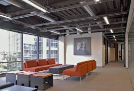 Open ceiling lighting Basement Lighting Unfinished Industrial Open Ceiling With Linear Led Pendants Lbc Lighting Open Ceiling Lighting Design Ideas For Commercial Applications Lbc