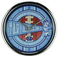 university of north ina tar heels wall clock chrome finished frame contemporary wall clocks by zeckos