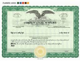 Stock Certificats Stock Certificates Custom Stock Certificates Corporations With