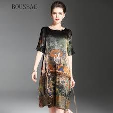 <b>Vintage Ethnic</b> Painting Design Dress <b>Women Summer</b> Half Sleeve ...