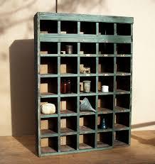 Vintage Primitive Farm Cubby Cabinet / Mail Sorter /