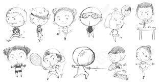 Illustrazione Del Disegno Doodle Di Bambini Che Giocano Con I Diversi Sport Su Uno Sfondo Bianco