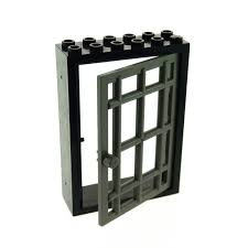 1 x lego brick black door frame 2 x 6 x 7 with dark gray door 1 x 6 x 7 barred 4071 4611