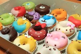 Collection Of Lovely Cute Cake Donut For Children Birthday Partty