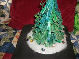 Tabletop Christmas Tree. Recycled Toilet Paper Roll Christmas Tree