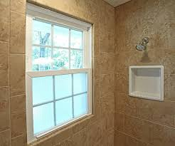 shower tiled window recessed shampoo niche