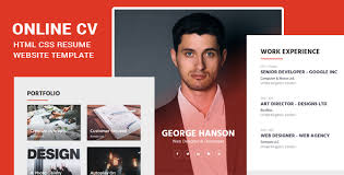 Online Cv Html Css Resume Website Template Specialty Pages Designs