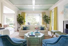 Yellow and Blue Living Room with Bone Inlay Cocktail Table