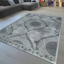 Kurzflor Teppich Florales Muster Grau