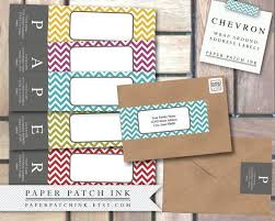 Address Label Templates Interesting Retro Color CHEVRON Wrap Around Address Label PDF Template