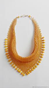 scarf necklace of beads ceylon yellow