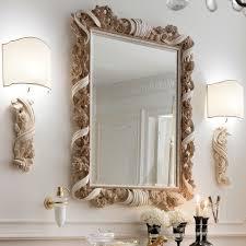 designer italian wooden rose and ribbon wall mirror