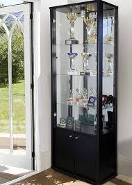 display cabinet with glass doors double door storage black