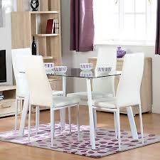 abbey rectangular glass table 4 faux leather chairs dining set kaleidoscope