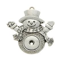 whole silver ornament snowman rhinestone snap jewelry collection