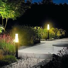 outdoor lighting idea. Garden Outdoor Lighting Idea With Bollard Lamps Near Green Plants Landscaping Kits O
