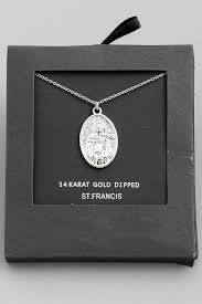 gold dipped st francis pendant necklace