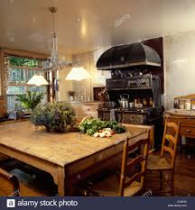 Basement Kitchens Victorian Style Pendant Lamps Over Old Wooden Table And Chairs In