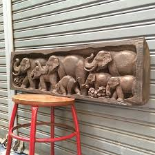 36 x11 carved teak wood elephants in forest animal wood carving wall hanging art asia