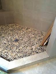 wondrous ideas stone shower floor pebble rock traditional by troy tile cleaning sealer mat