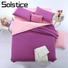 solstice home textile solid purple pink bedding set woman teen kid girls bed linens double duvet cover pillowcase bed flat sheet comforter sets queen size