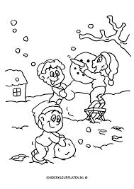 Kleurplaat Sneeuwpop Maken Jaargetijden