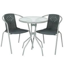 2 seater bistro rattan grey chairs