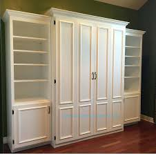 bookcase white painted mdf queen size murphy bed flat panel surface with regard to decor 13