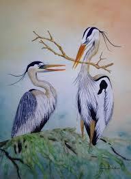 sold herons watercolor by linda behnken lindabehnken com
