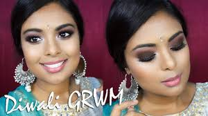 indian grwm diwali makeup tutorial 2017 brown smokey eyes dewy skin wedding guest you
