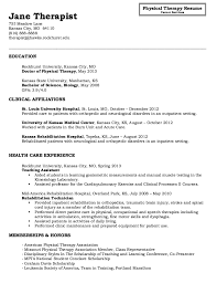 Physical Therapist Resume Template Resume Template Ideas