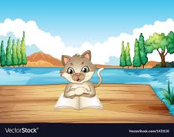 a cat reading a book at the port vector image