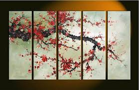 cherry blossom paintings hand made 5 pieces cherry blossom painting abstract red flower oil canvas wall