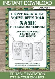 Basic Invitation Template Army Party Invitation Green Camo Army Birthday Party Invite