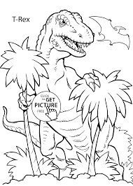 T Rex Dinosaur Coloring Pages For Kids Printable Free Coloing