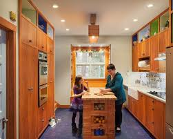 Midcentury Modern Kitchen Pictures   Inspiration For A 1960s Cork Floor And  Blue Floor Kitchen Remodel