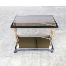 0221028tb belgachrome serving trolley side table glass gold vintage