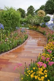 garden pathway. Garden Path For Curb Appeal Using Achillea, Coreopsis, Agapanthus, Liatris, Etc Pathway
