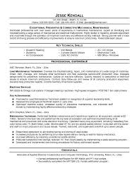 Resume Objective For Maintenance Technician