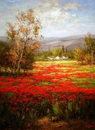 poppy field splendid pathway painting unknown artist poppy field splendid pathway art painting