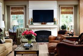 living room with tv over fireplace. Tv Over Fireplace Ideas View In Gallery Room With A Blend Of The Traditional And Modern Living T