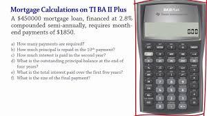 Mortgage Calculations Using Ba Ii Plus