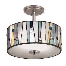 portfolio 13 in w brushed nickel clear glass tiffany style semi flush mount