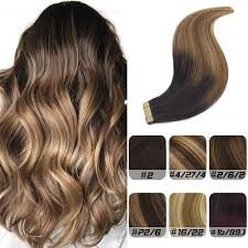 Dark To Light Ombre Hair Labeh 22inch Tape Ombre Hair Extensions Remy Human Hair Yellow Tape Double Sided Dark Brown To Light Brown And Ash Blonde 20pcs 50g