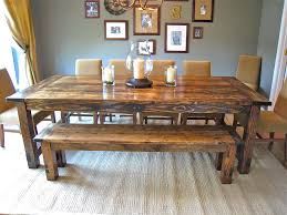farmhouse dining table with bench solid wood dining room furniture large solid wood dining table