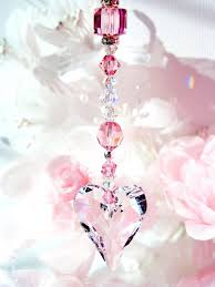 pink heart crystal chandelier pink car mirror charm pink heart chandelier